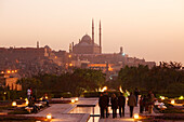 People strolling at Al Azhar Park, in the background the Citadel and the mosque of Muhammad Ali, Cairo, Egypt, Africa