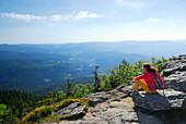 Woman enjoying view, Great Arber, Bavarian Forest National Park, Lower Bavaria, Bavaria, Germany