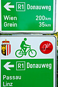 Sign Danube Cycle Route Passau to Vienna, Mauthausen, Upper Austria, Austria