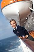 German hostess Bettina Bauknecht on the cruise ship Queen Mary 2