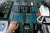 Instruments on the bridge of the cruise ship for the steering and engines, bridge, Cruise ship Queen Mary 2
