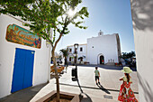 Main Square with Church, Sant Francesc, Formentera, Balearic Islands, Spain