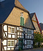 Outdoor photography, Morning, Half-timbered house in Winterberg, Rothaargebirge, Rothaarsteig, Hochsauerland, North Rhine-Westfalia, Germany, Europe