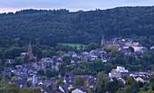 Outdoor Photo, Early autumn, Evening, View over Bad Berleburg, Rothaargebirge, Siegerland-Wittgenstein, Sauerland, Germany, Europe
