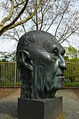 outdoor photo, spring, day, sculpture of head of Konrad Adenauer at the Bundeskanzlerplatz in the former Government District, Bonn - Bad Godesberg, Northrhine- Westfalia, Germany, Europe