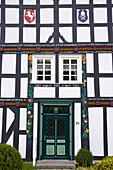 Outdoor Photo, Early autumn, Day, Half-timbered house at Kirchhundem, Sauerland, Germany, Europe