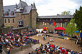 knights´ games of the Georg Ritter at Schloß Burg (castle), outdoor photo, spring, day, Solingen - Burg, Bergisches Land, North Rhine-Westphalia, Germany, Europe