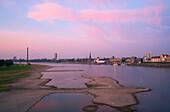 Outdoor photo, Late summer,  Evening, View from Düsseldorf - Oberkassel at Düsseldorf with Schloßufer, Rathausufer, Mannesmannufer, Lower Rhine, North Rhine-Westphalia, Germany, Europe