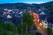 view at Bad Münstereifel, valley of the river Erft, northern part of Eifel, outdoor photo, evening, spring, North Rhine-Westphalia, Germany, Europe