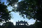 Backlit ruins of a theatre, Corregidor Island, Manila Bay, Philippines, Asia