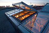 above the glass roof of a loft apartment, loft living, Berlin, Germany