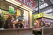 snack food stand, Arminius market hall, Berlin, Germany