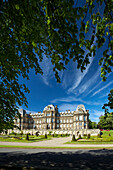 Bowes Museum framed by overhead branches, Barnard Castle, County Durham, UK, England