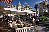 Cafe scene, Cafe de Paris, Monte Carlo, Cote d'Azur, Monaco
