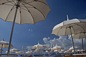 Sun shades and wine glasses, Cannes, Cote d'Azur, France