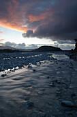 Franz Josef river at sunset, Franz Josef, near, South Island, New Zealand