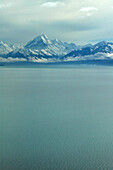 View of Mount Cook over Lake Pukaki, Mount Cook National Park, South Island, New Zealand