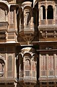 Ornately carved facade of the Patwon Ki Haveli, merchant's house, Jaisalmer, Rajasthan, India