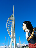 Spinnaker Tower and figurehead at Gun Wharf, Portsmouth, Hampshire, UK, England