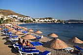 Beach scene and Outer Harbour, Bodrum, Aegean, Turkey