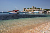 View to Castle of St Peter from beach, Bodrum, Aegean, Turkey