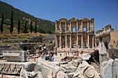 Roman ruins with Library of Celsus, Ephesus, Aegean, Turkey