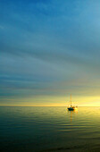 Boat on calm sea at sunset, Seascapes, Natural World