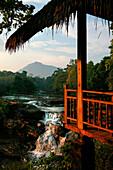 Tat Lo waterfall in warm sun, Bolaven Plateau, Laos