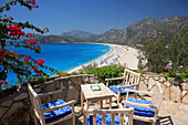 Beach scene, overview from restaurant terrace, Oludeniz, Mediterranean, Turkey