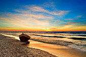 Seascape with boat on beach at sunset, Abstract, Specials