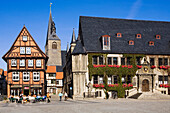 Half-timbered architecture with cafe and church and Town Hall, Quedlinburg, Saxony-Anhalt, Germany
