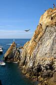 Cliff diving at La Quebrada, Acapulco, Guerrero State, Mexico