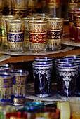 Tea glasses for sale, Marrakesh, Morocco