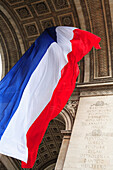 Arc de Triomphe, French flag, Paris, France