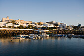 Harbour with fishing boats under clear sky, Puerto del Rosario, Fuerteventura, Canary Islands, Spain, Europe