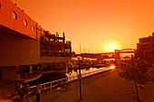 Sunset at False Creek, Yard Club, Marina, Burrard Bridge, Vancouver City, Canada, North America