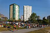 English bay, Westend, Promenade crowded, Jogger, Vancouver City, Canada, North America