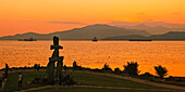 The Inushuk monument in sunset park at English bay, Olympic Symbol Westend, Vancouver City, Canada, North America