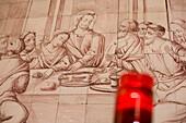 Wandbild in Dorfkirche von Alvor, Jesus Christus beim letztes Abendmahl, Alvor, Algarve, Portugal