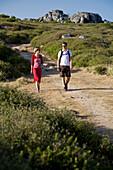 Couple hiking, hiking in the Serra de Monchique, Mount Foia, 902 meters above sea level, MR, Monchique, Algarve, Portugal