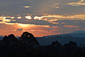 Sunrise over the landscape of Khao Yai National Park, Province Khorat, Thailand, Asia