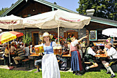Waitress serving beers, alpine lodge at Hochries, Samerberg, Chiemgau, Bavaria, Germany