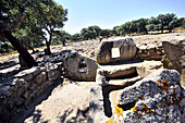 Ruins of the grave Mutteddu at the street of Nuragheni, South Sardinia, Italy, Europe