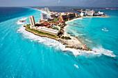 Aerial of Punta Cancun, Cancun, State of Quintana Roo, Peninsula Yucatan, Mexico