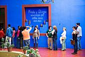 On the patio of Casa Azul, the house of artist Frida Kahlo, Coyoacan, Mexico City, Mexico D.F., Mexico