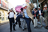 Second Line Parades have a long tradition: these are musicians who join a funeral parade, usually uninvited, French Quarter, New Orleans, Louisiana, USA
