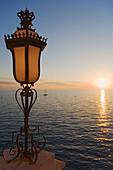 Lamp on the terrace of Miramare castle, Trieste, Friuli-Venezia Giulia, Upper Italy, Italy