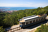 Tram to Opicina, view of Trieste in the background, Friuli-Venezia Giulia, Upper Italy, Italy