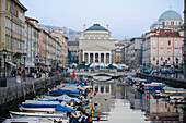 Boats on Canale Grande, church of St. Anthony in the background, Trieste, Friuli-Venezia Giulia, Upper Italy, Italy