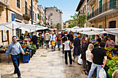 People at the market at the old town of Palma, Mallorca, Spain, Europe